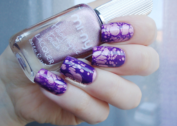 Holo pink and purple water spotted nail art