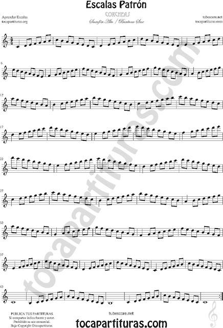 Partitura de Saxofón Alto Aprender Escala de Do Patrón en Corcheas en Mi bemol - Técnicas Ejercicio para Saxofonistas Estudio Ascendente - Descendente Alto Saxophone E Flat
