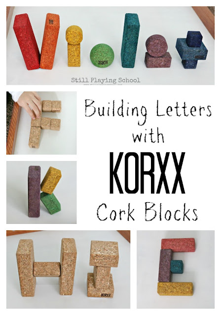 Practice literacy with kids in a hands on way by building letters with KORXX cork building blocks