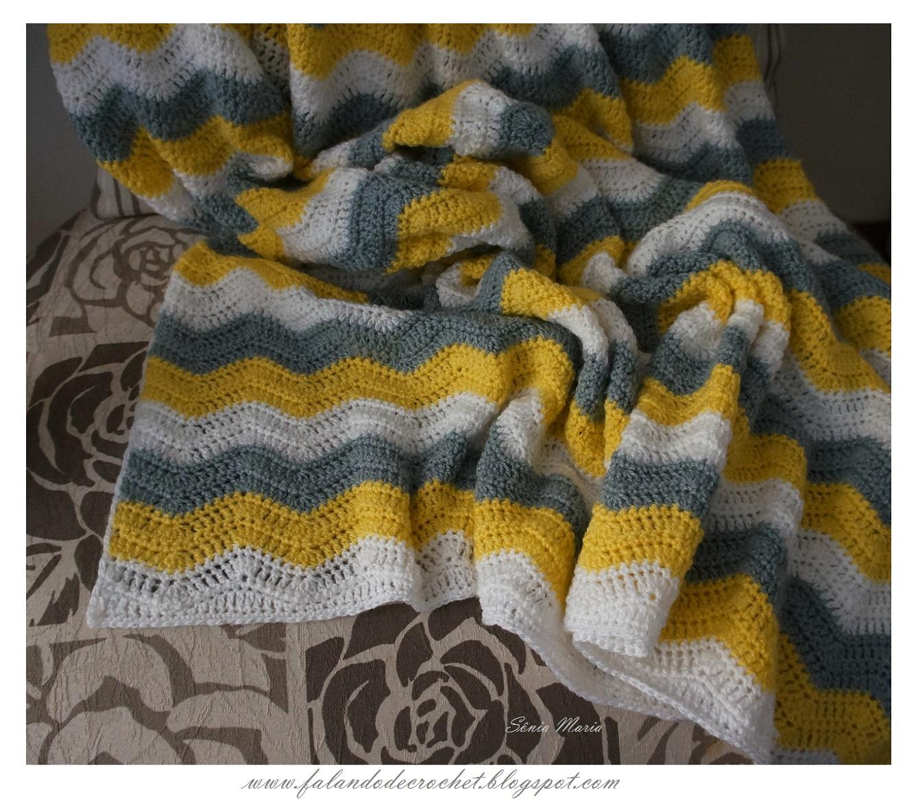 Falando de crochet manta em croche zig zag para bebe - Manta de crochet facil ...