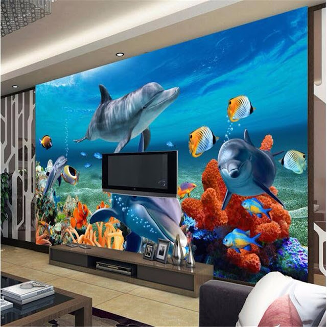 Dolphin Wall Mural 3D Coral Reef Sea Fish