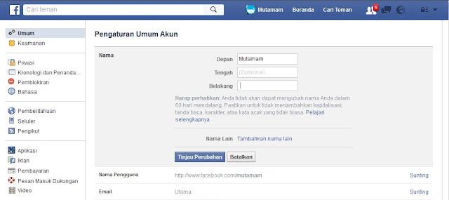 Nama Facebook Menjadi Satu Kata