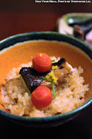 Yellowtail, Burdock, Radish, and Carrots over Rice at Ginza Kojyu in Tokyo, Japan