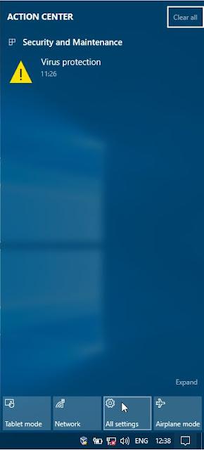 Jendela notifikasi yang digunakan untuk mengakses jendela All Settings