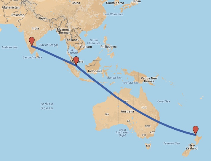 Map Showing The Flight Path From New Zealand To India Layover In Singapore 14 Hour
