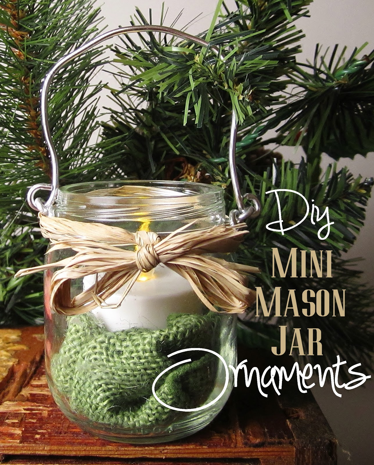 DIY hanging mini mason jar ornaments rustic