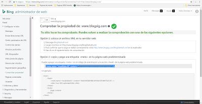 Comprobando blog en Bing Webmaster