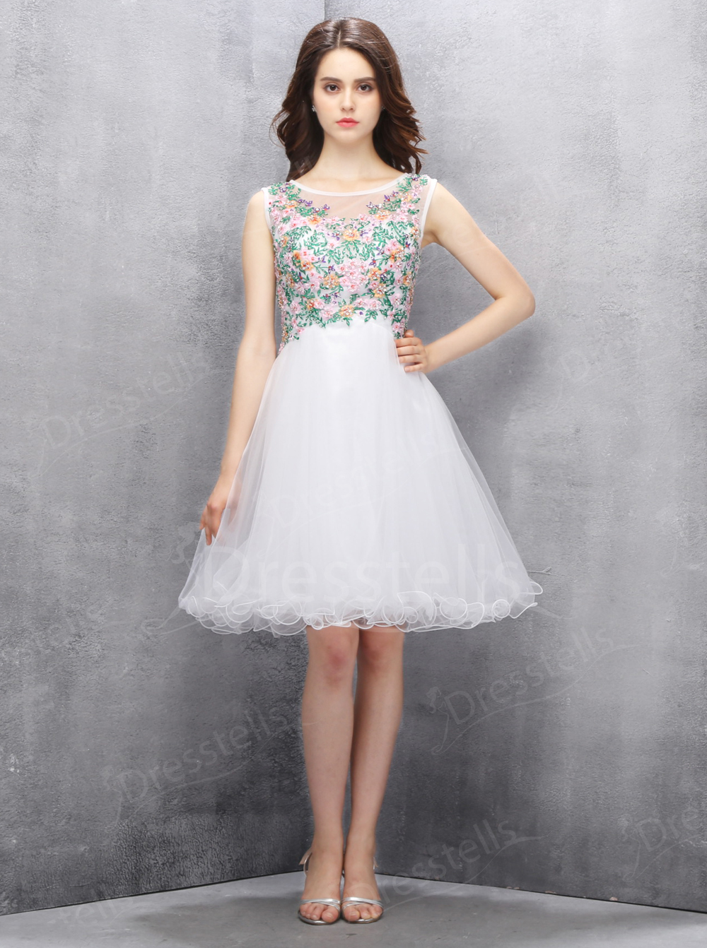A-line Scoop Knee-length White Tulle Homecoming Dress with Beading Embroidery