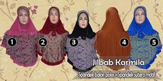 Jilbab instan spandek balon polos kombinasi motif