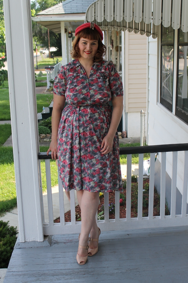 plus size 1950s 1960s dress with pink vintage turban via va-voom vintage
