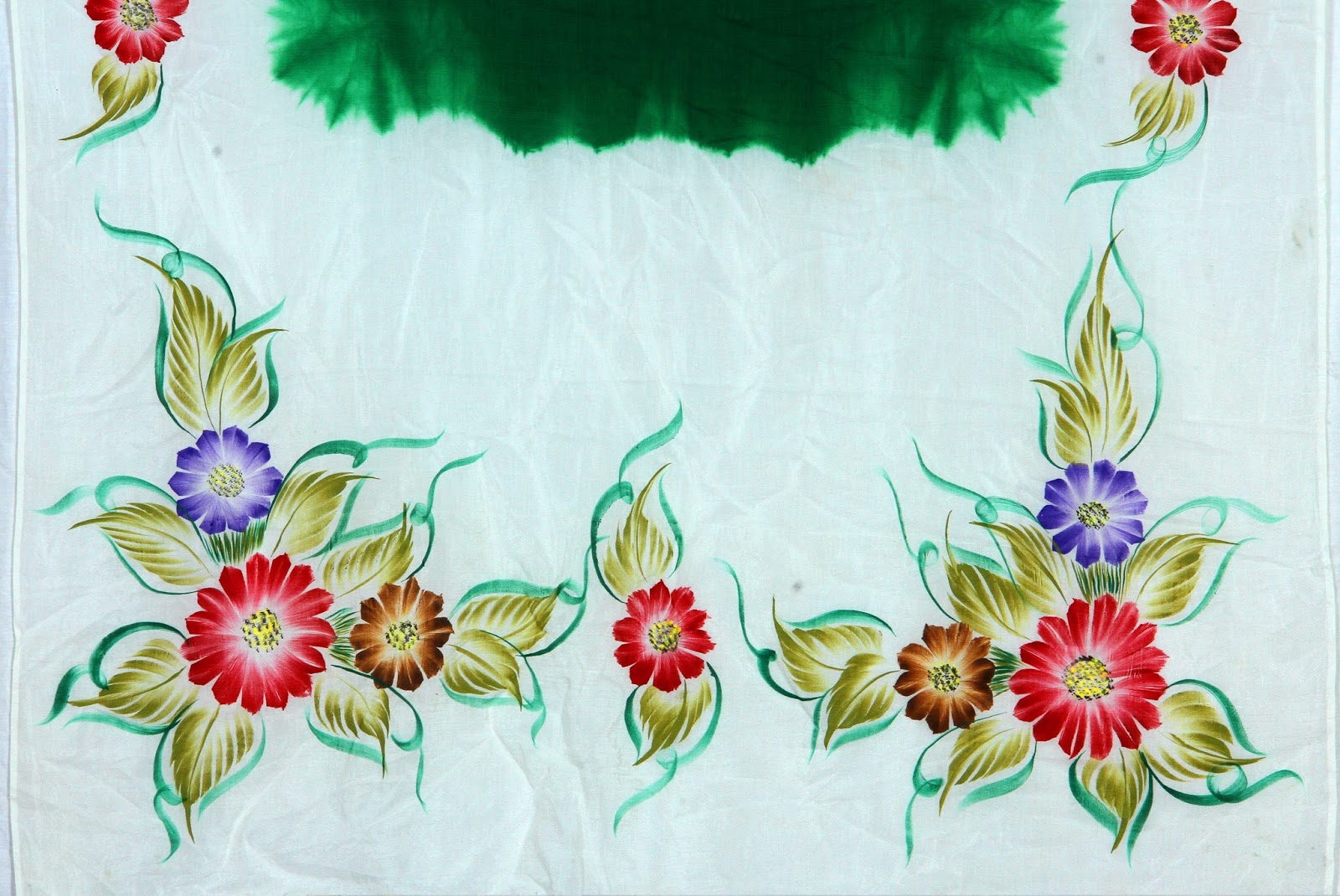 Freehand Fabric Painting Tye And Dye White Green Mixed Shade Saree Flowers Design