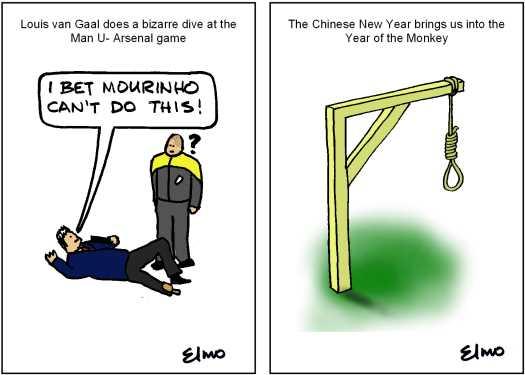 Cartoons of van Gaal's dive and a gallows