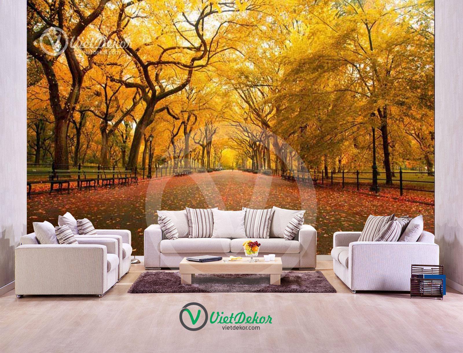 Tranh dán tường 3d phòng cảnh rừng cây