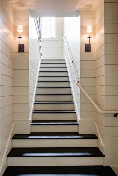 staircase with shiplap