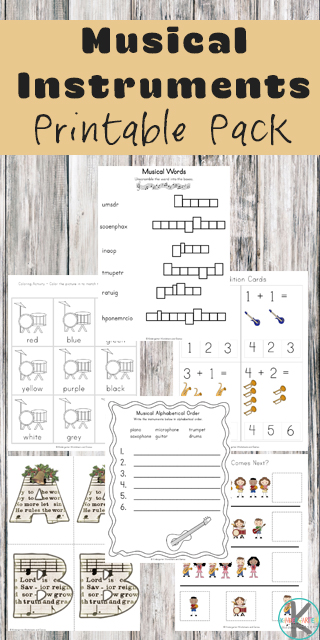 Free musical instruments worksheets printable. This HUGE, 74+ pages of music worksheets for kindergarten will introduce kids to popular instruments that they might be interested in learning to play; the piano, drums, guitar and their voice - singing.  Plus, the pages include practicing counting, colors, patterns, tracing letters and numbers, addition, and many other math and litearcy skills for toddler, preschool, pre-k, kindergarten, and first grade students. Simply download pdf file with kindergarten music worksheets and you are ready to print and learn!