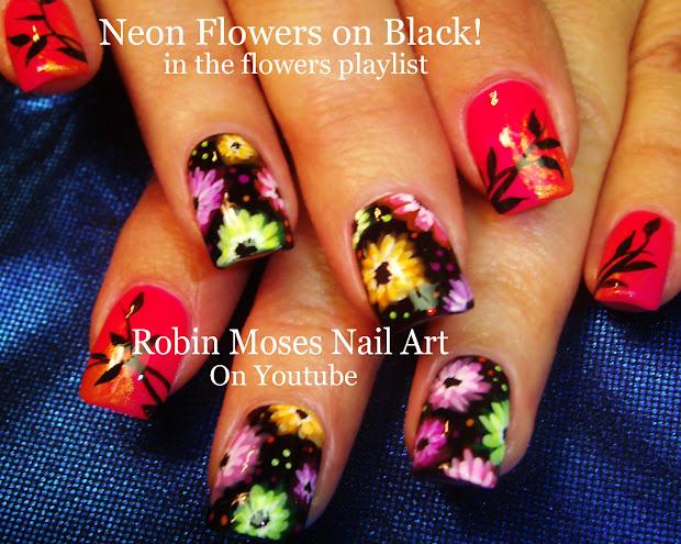 robin moses nail art neon flower