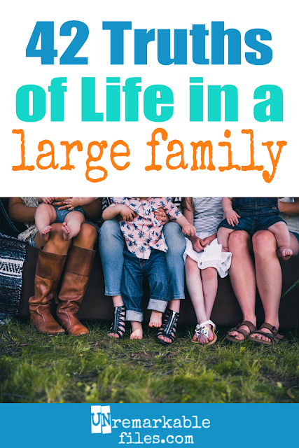This awesome 'you know you have a big family when...' list is so funny and seriously accurate. I have 6 kids and I'm laughing at every one of these large family truths! #hilarious #bigfamily