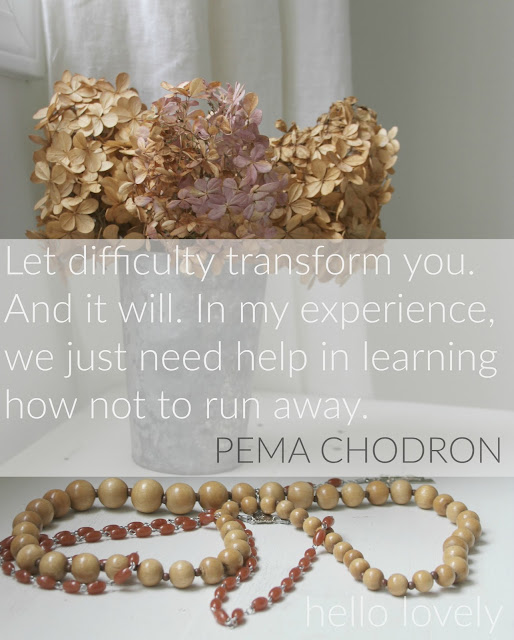 Inspirational quote about struggle: Let difficulty transform you Pema Chodon quote - Hello Lovely Studio