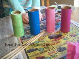 Painted Cardboard Tube Flowers