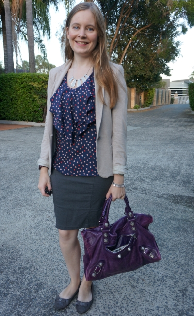 polka dot ruffle tank hersey blazer pencil skirt navy and purple autumn work outfit | away from blue