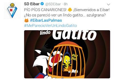 Tuit de bienvenida del Éibar a la UD Las Palmas
