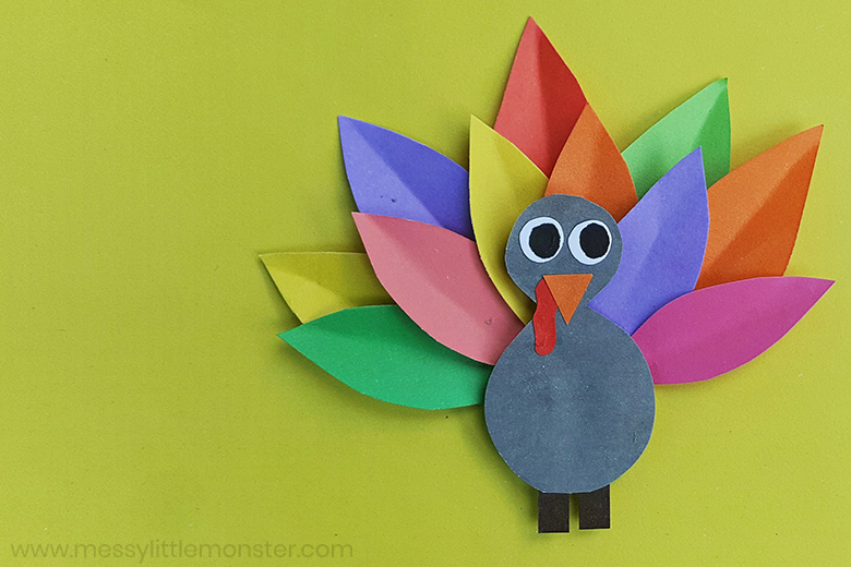 Thanksgiving crafts for preschool - paper turkey craft with turkey template