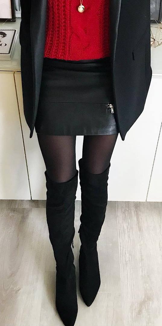 how to wear black over knee boots : red knit sweater + mini skirt + jacket