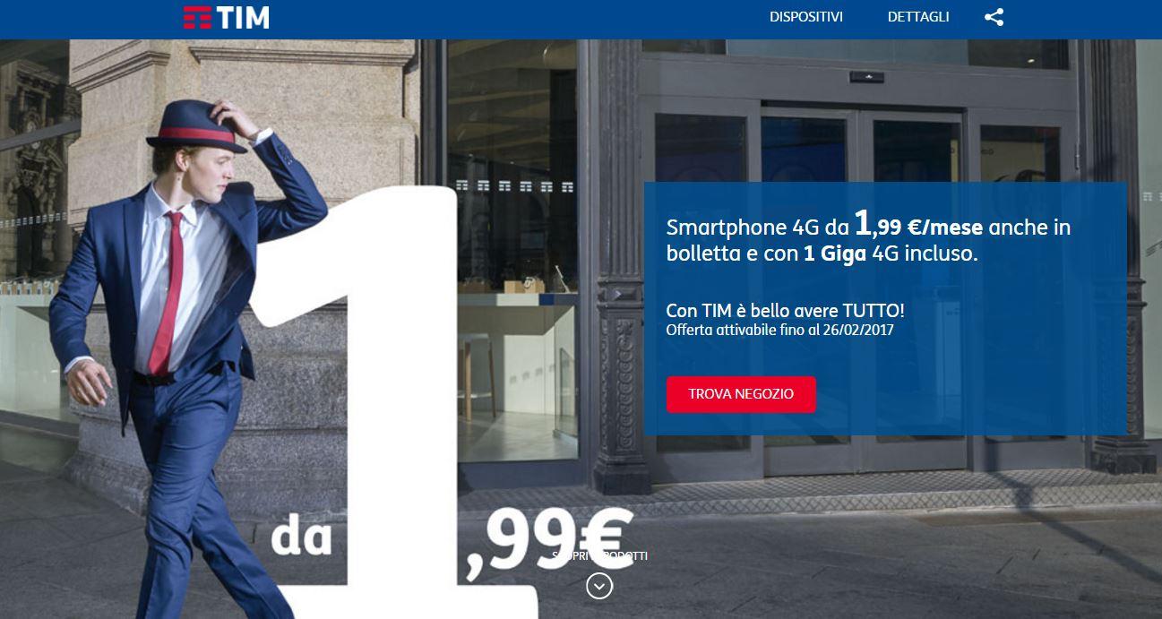 TIM smartphone a 1,99€ quali modelli? E' vero?