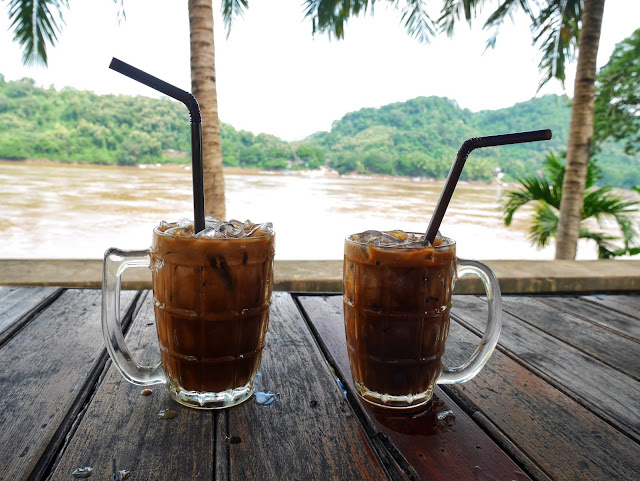 Lao iced coffee, Luang Prabang, morning by the river