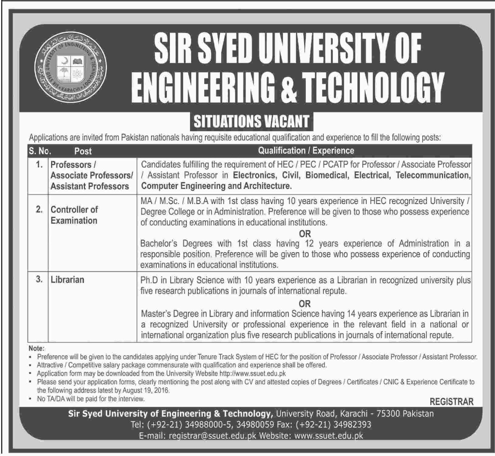 Sir Syed University of Engineering & Technology Jobs Aug 2016