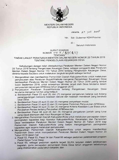 Peraturan Menteri Dalam Negeri Nomor 20 Tahun 2018 tentang Pengelolaan Keuangan Desa