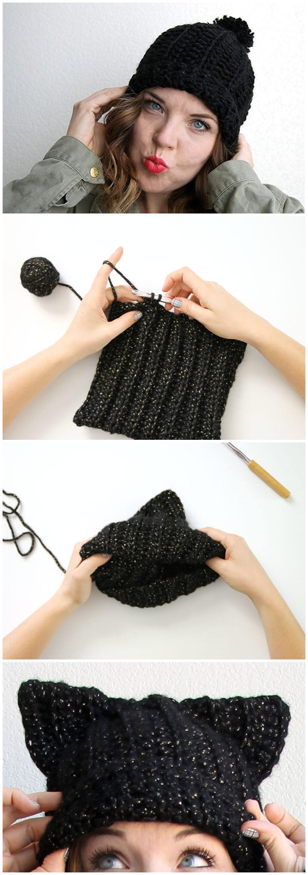 Black Cat Slouch Hat – Free Crochet Cat Hat Pattern