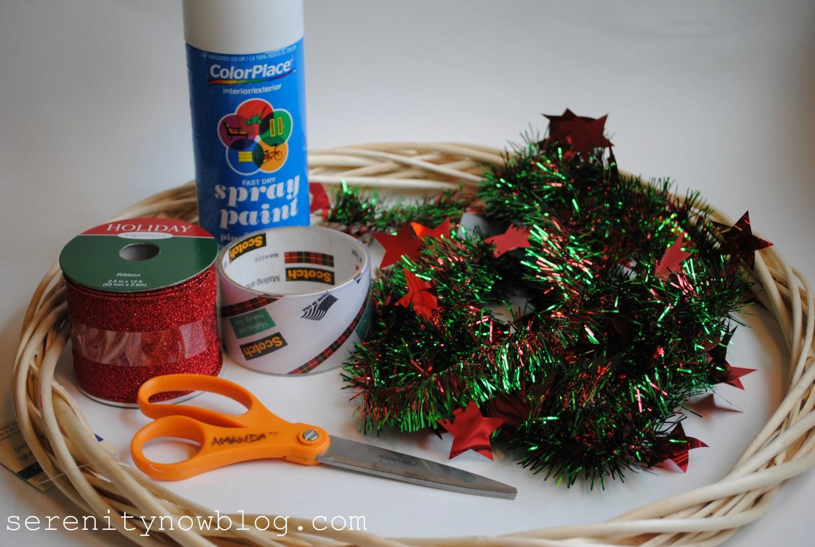 Serenity Now: Christmas Tinsel Garland Wreath (Dollar Tree