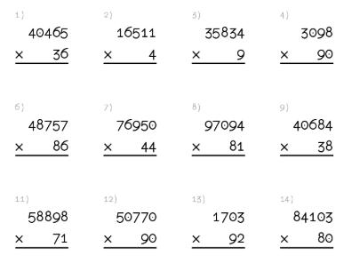hojas de ejercicios de multiplicaciones para imprimir ...