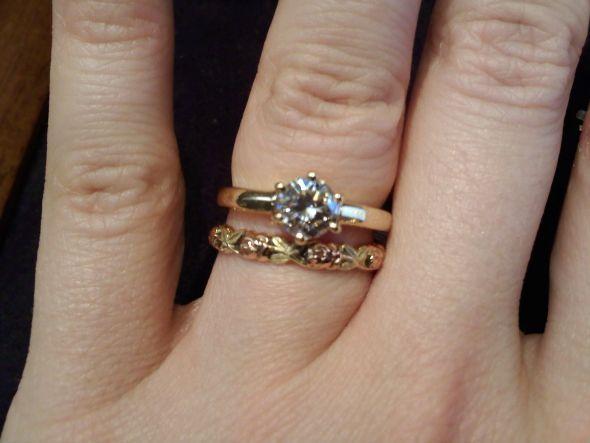 White Gold Engagement Ring Rose Gold Wedding Band