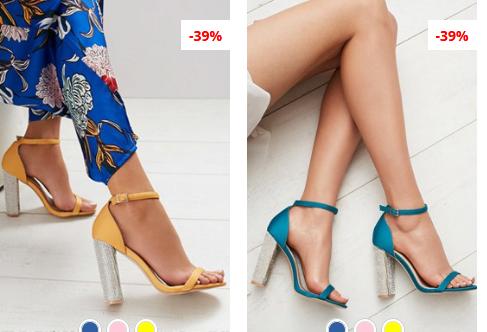 Sandale elegante fucsia, Galbene cu toc gros cu gliter la moda