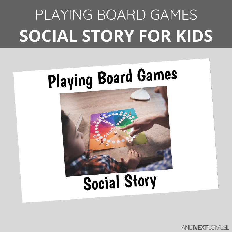 Printable social story for kids with autism about how to play board games