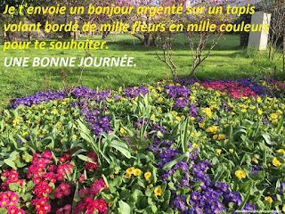 Je t'envoie un bonjour argenté sur un tapis volant bordé de mille fleurs en mille couleurs pour te souhaiter. une bonne journée