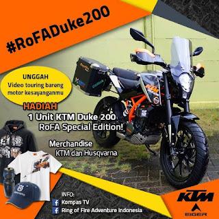 Kontes Video Touring Berhadiah Motor KTM Duke 200 RoFA Special Edition