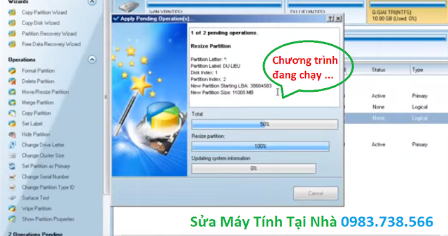 Tách ổ cứng bằng Minitool Partition Wizard - H17
