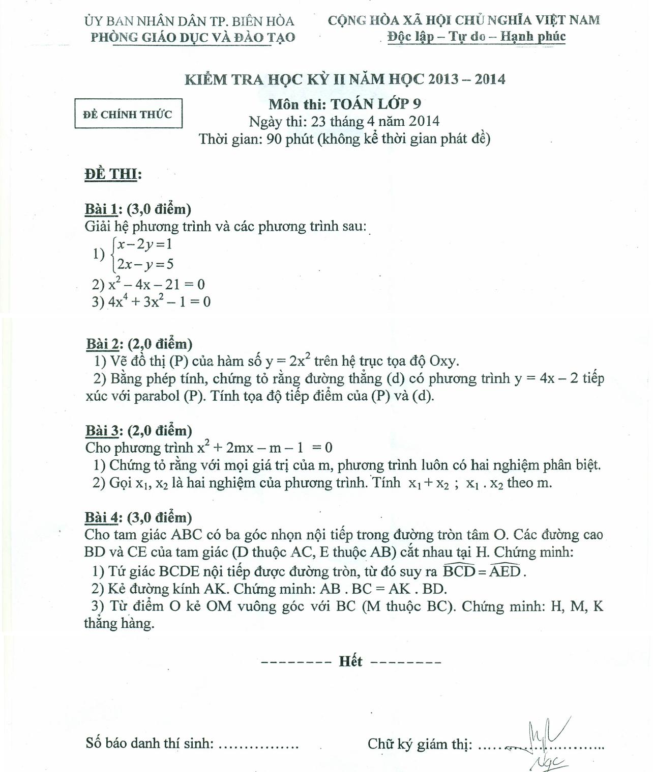 Đề thi học kỳ 2 môn toán lớp 9 tỉnh Đồng Nai năm 2014