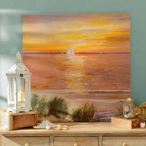 Beach Sunset over the Sea Art Prints | Canvas Art, Framed Art & Pallet Paintings
