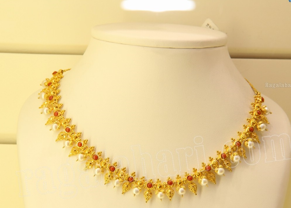 Simple Gold Necklace with Pearls and Corals Jewellery Designs