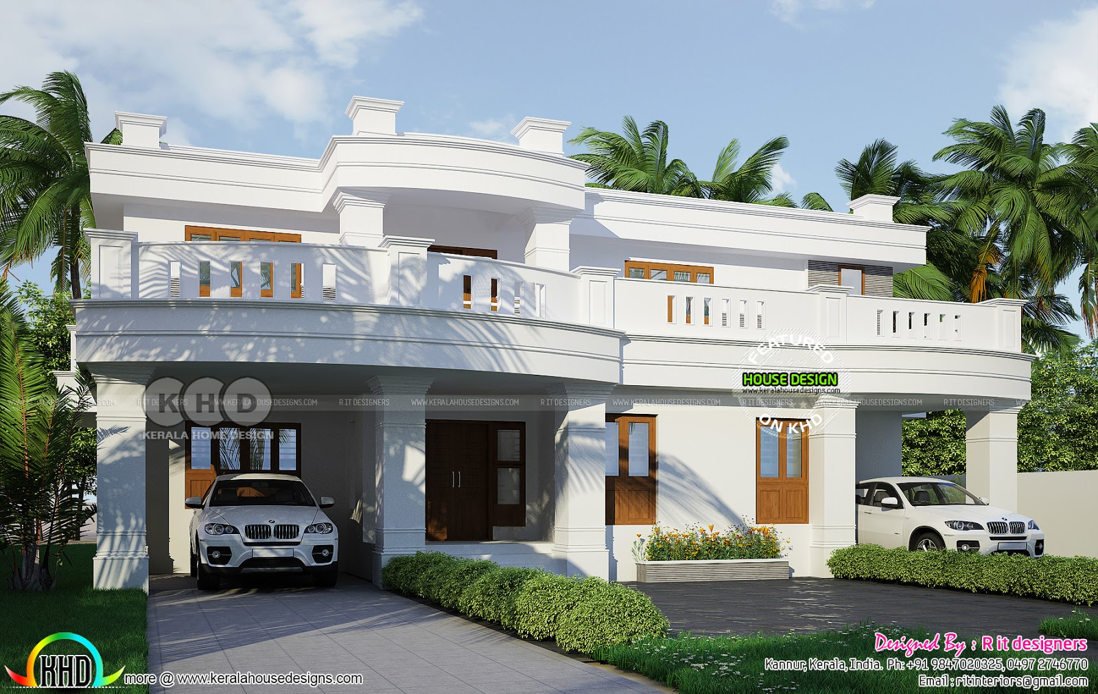 2 car porch home in decorative style - Kerala home design ...