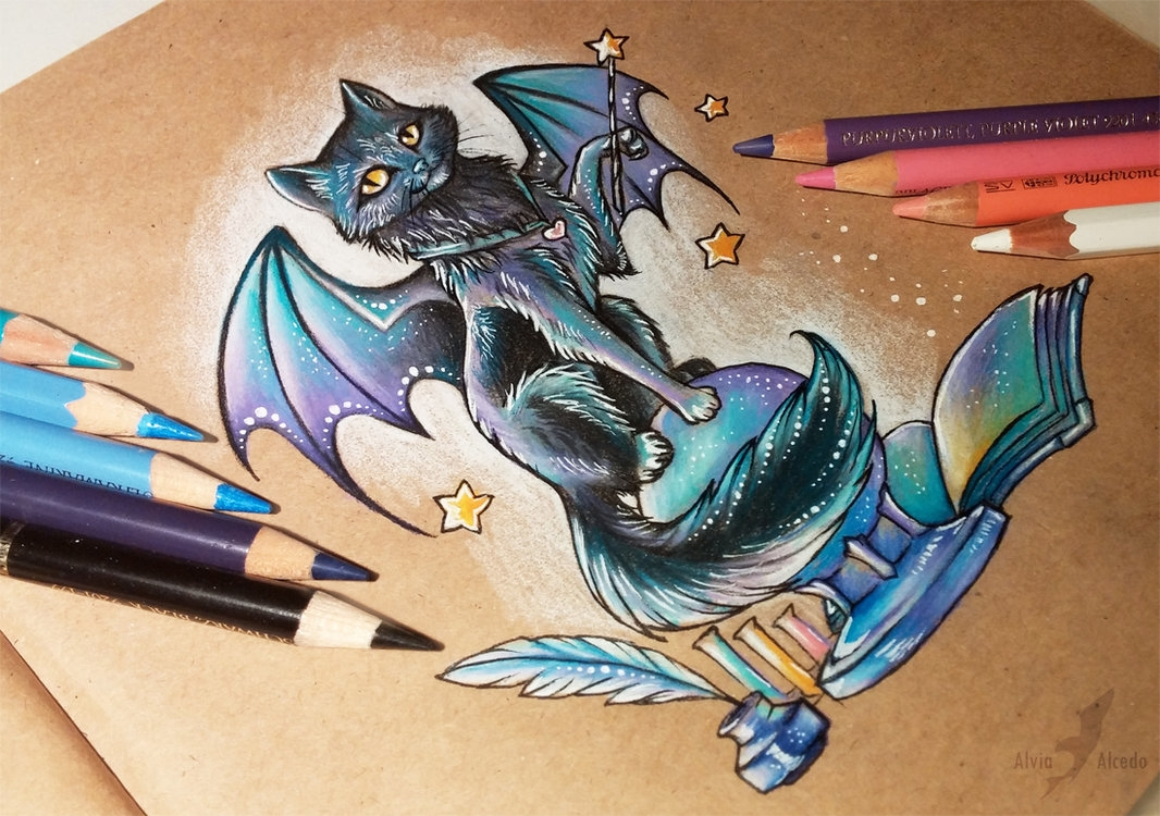 03-Magic-black-cat-Alvia-Alcedo-Dragon-and-other-Mythical-Fantasy-Drawings-www-designstack-co
