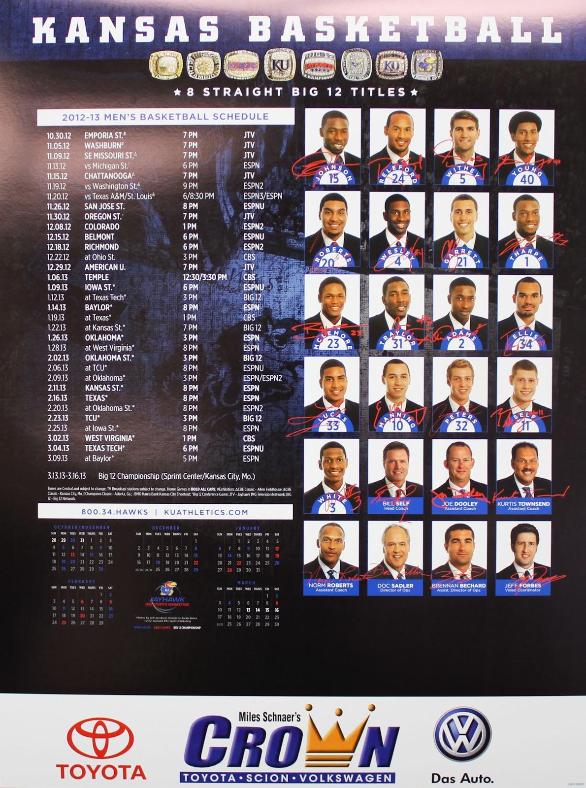 Crown Toyota Lawrence >> Crown Scion of Lawrence: 2012-13 Kansas Men's Basketball ...