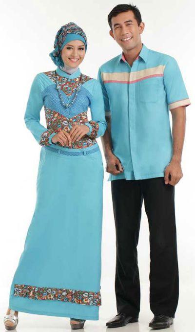 model baju gamis variasi batik sarimbit biru