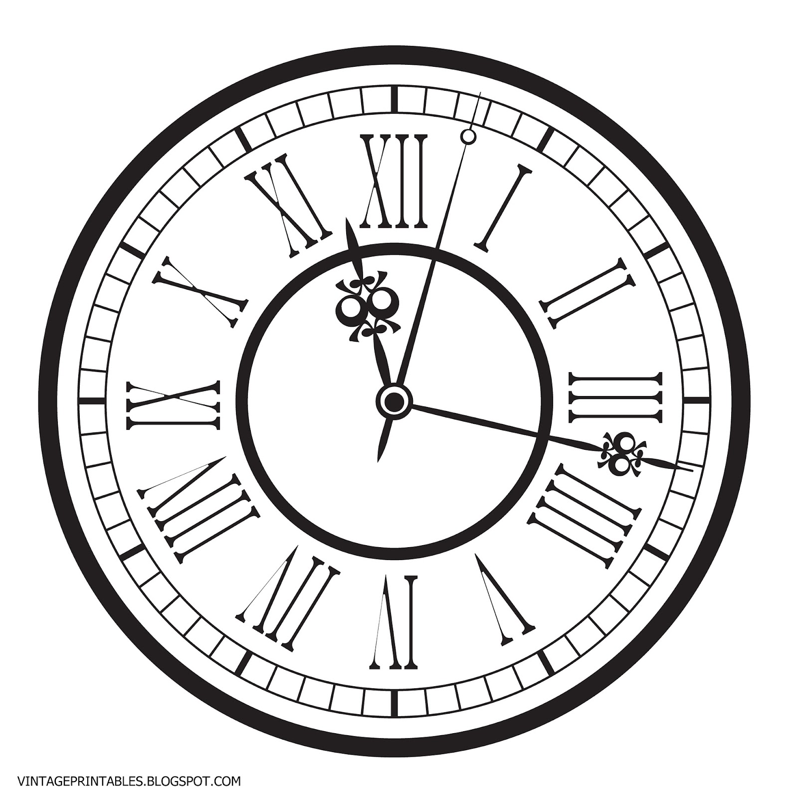 Old Antique Clock Free Clip Art on Clock Face Printable
