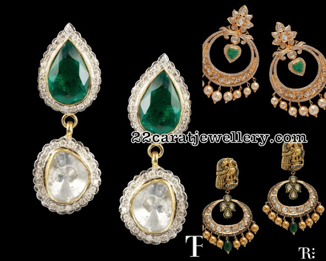 Simple Diamond Earrings Nakshi Chandbalis