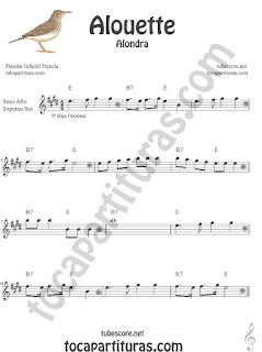 Trompa y Corno Francés Partitura de Alouette (Alondra) Canción infantil  en Mi bemol Sheet Music for French Horn Music Scores
